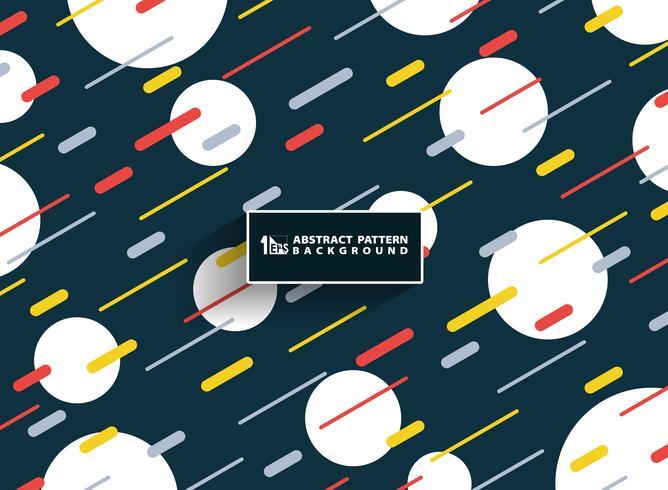 Abstrakter bunter geometrischer klarer Farbmusterstreifen Memphis zeichnet Hintergrund mit der weißen Verzierung des Kreises. Sie können für Covergrafiken, Broschüren, Anzeigen, Poster und Geschäftsberichte verwendet werden. vektor