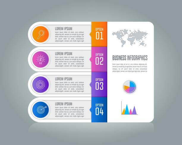 Tidslinje infografisk affärsidé med 4 alternativ. vektor
