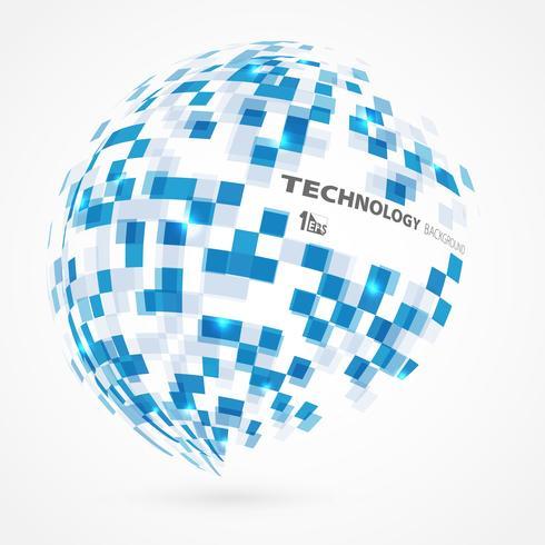Globaler Formhintergrund des abstrakten Technologiekreises der quadratischen Steigung blauen. vektor