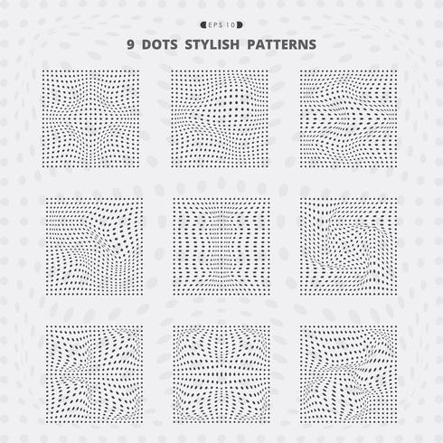Abstrakta svarta fyrkantiga prickar mesh snygg mönsteruppsättning. vektor