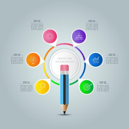 Bildung Infografiken Vorlage 6-Schritt-Option. vektor