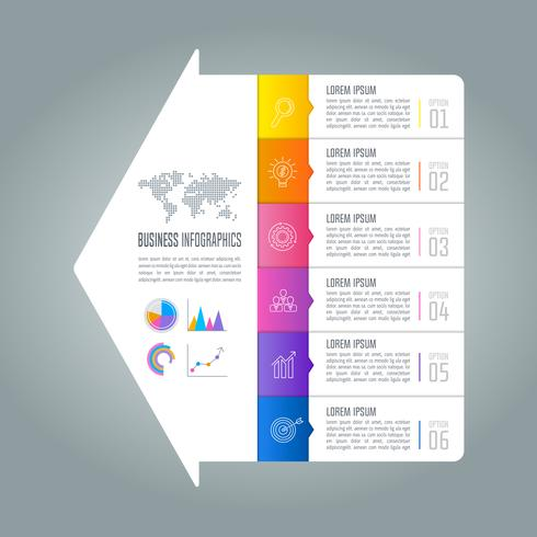 Infographik Design Geschäftskonzept mit 6 Optionen. vektor