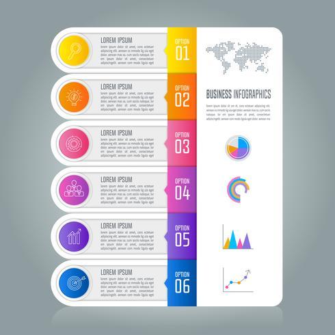 Tidslinje infografisk affärsidé med 6 alternativ. vektor