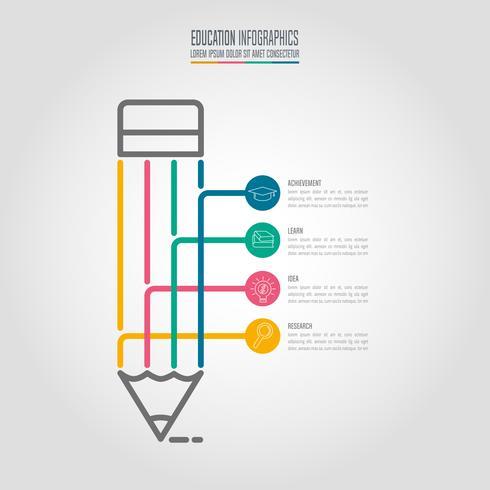 Bildung Infografiken Vorlage 4-Schritt-Option. Infographic Designvektor der Zeitachse. vektor