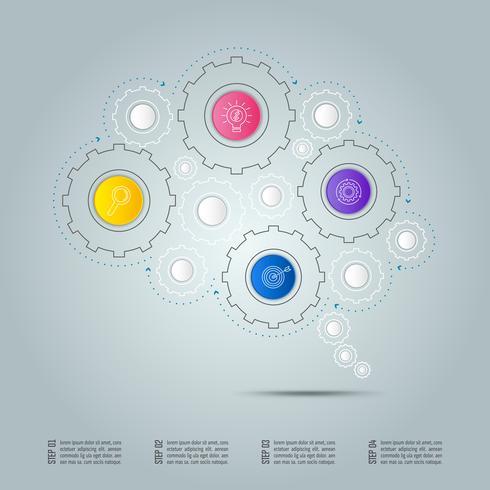 Infographik Design Geschäftsverbindungskonzept in Form von Gehirn-Symbol mit 4 Optionen. vektor