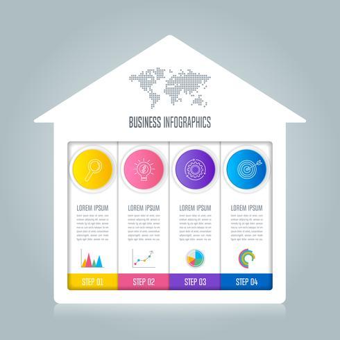 Infographik Design Geschäftskonzept mit 4 Optionen. vektor