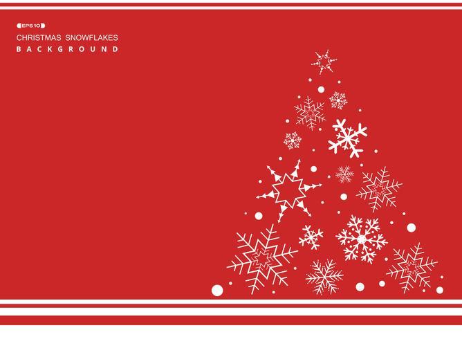 Abstrakt av jul enkel röd färg bakgrund med vita snöflingor träd. vektor