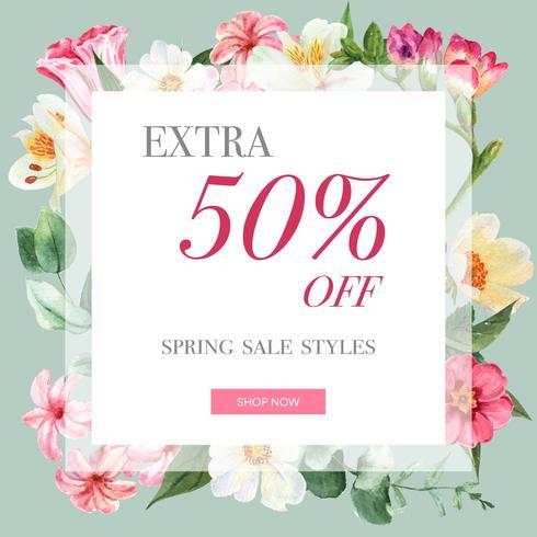 Vår sociala medier ram färska blommor, dekorkort med blommig färgrik trädgård, bröllop, inbjudan, vattenfärg vektor illustration design