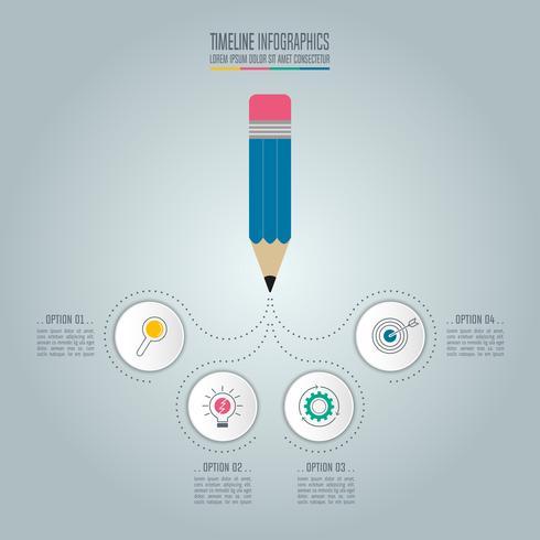 Bleistift mit infographic Designvektor der Zeitachse. vektor
