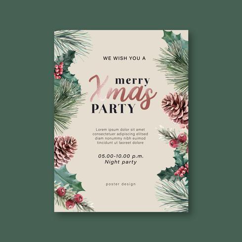 Blühendes mit Blumenplakat des Winters, Postkarte elegant für die schöne Dekorationsweinlese, kreatives Aquarellvektor-Illustrationsdesign vektor