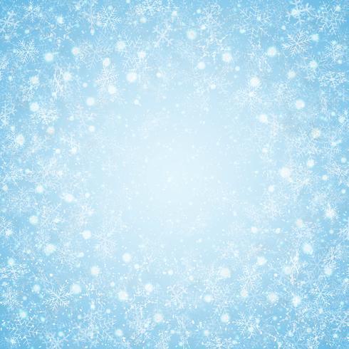 Julen i centrum blå himmel snöflingor mönster bakgrund. vektor