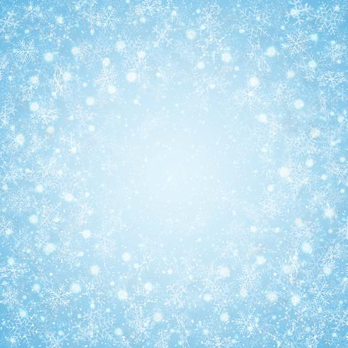 Weihnachten des Schneeflocken-Musterhintergrundes des blauen Himmels der Mitte. vektor