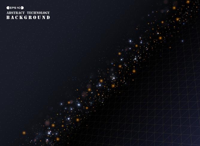 Abstraktion guld geometriska triangeln rand linje mönster med bokeh glitter. vektor