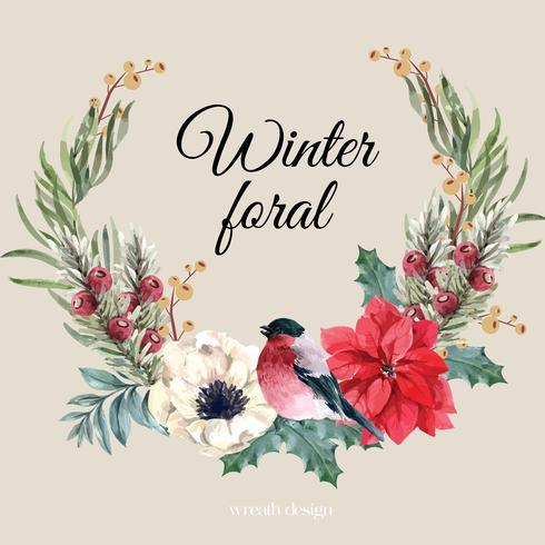 Vinter blommig blommande krans ram elegant för dekoration vintage vacker, kreativ vattenfärg vektor illustration design