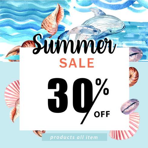 Sommer Social Media Werbung Urlaub zum Verkauf Rabatt. Ferienzeit, kreatives Aquarellvektor-Illustrationsdesign vektor