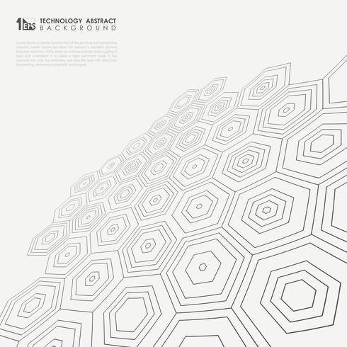 Perspektiv av femkantigt mönster i svart och vit bakgrund. vektor
