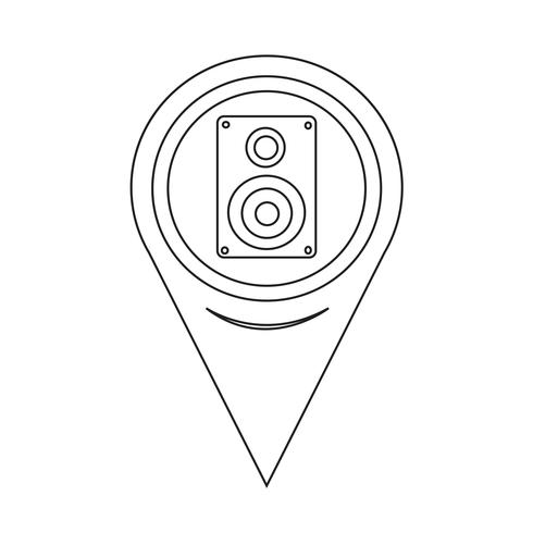 Karta Pointer Audio speakers ikon vektor