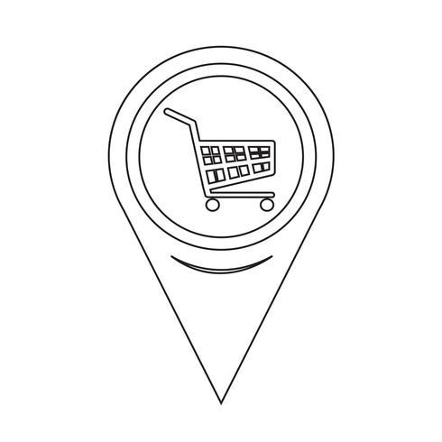 Kartpekare Varukorg Ikon vektor