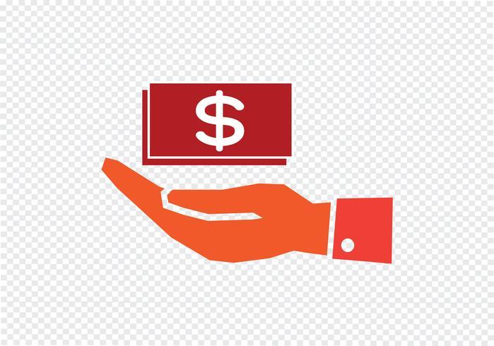 hand dollar ikon vektor