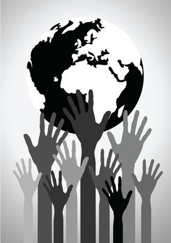 Hand, die Welt- und Kugelhandidee hält vektor