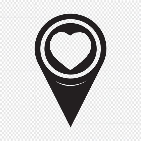 Kartenzeiger Herz-Symbol vektor