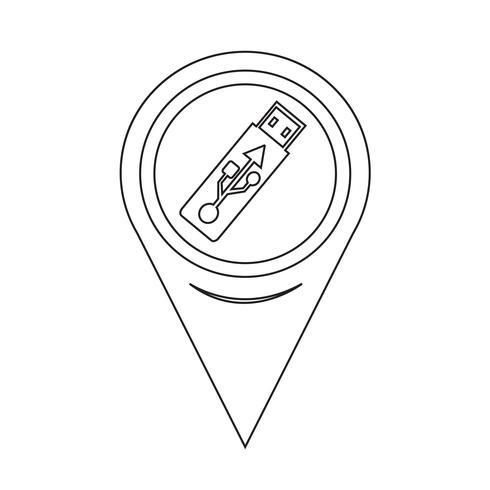 Map Pointer USB Flash Drive Ikon vektor