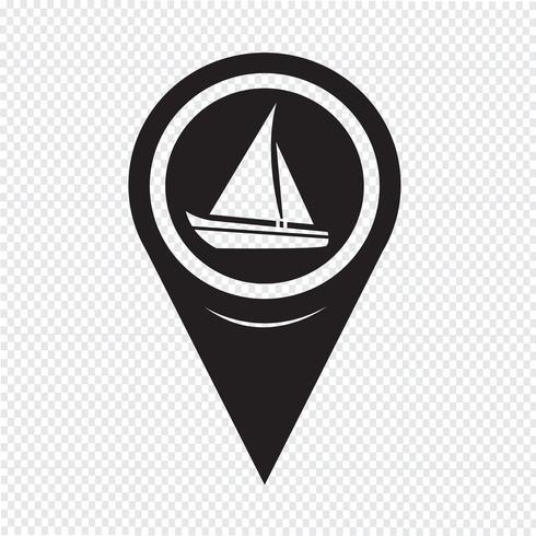 Kartpekare Segelbåt Ikon vektor