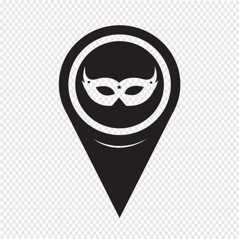 Kartenzeiger Karneval Maskensymbol vektor