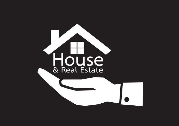 Hand- und Hauptikone Immobilienkonzept vektor