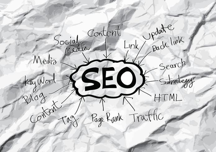 SEO Idea SEO Search Engine Optimization auf zerknittertes Papier vektor
