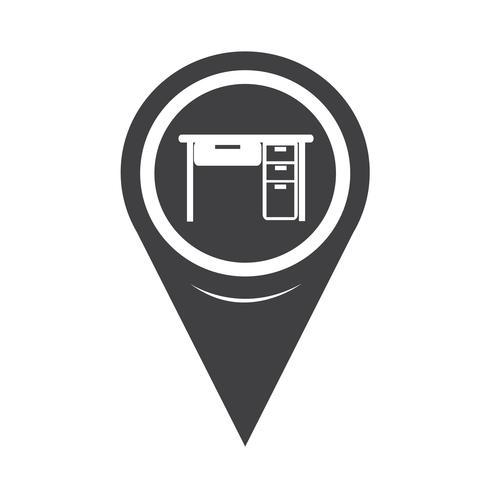 Map Pointer Table Office-ikonen vektor