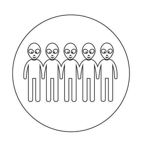 Främmande ikon symboltecken vektor
