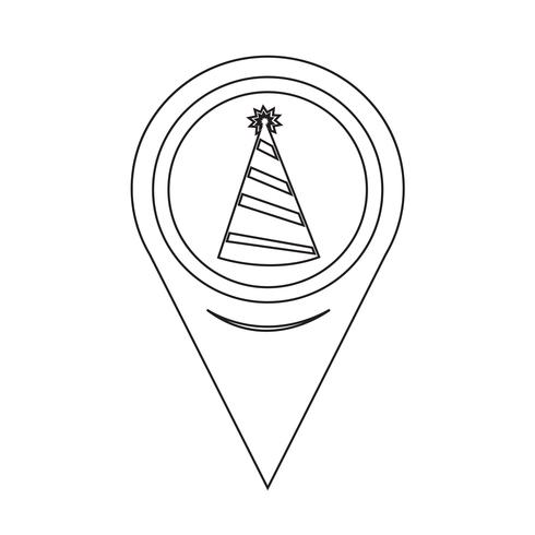 Map Pointer Party Hat Ikon vektor