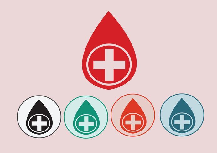 Blod dropp ikoner set vektor