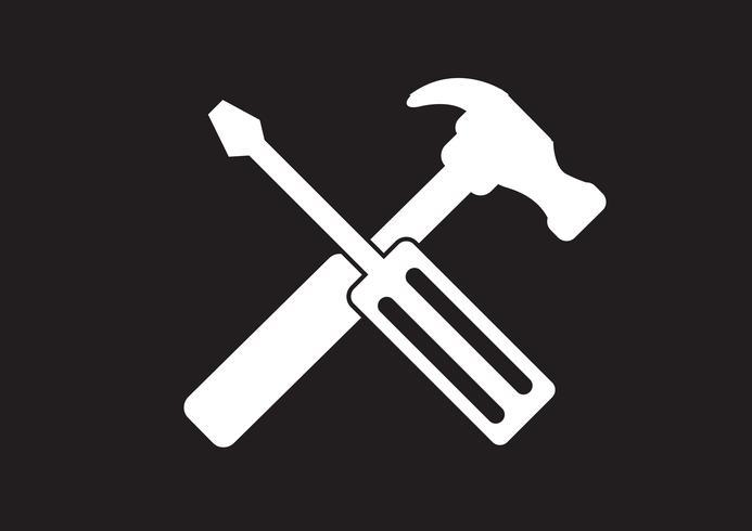 Werkzeug- und Hammer-Symbol vektor