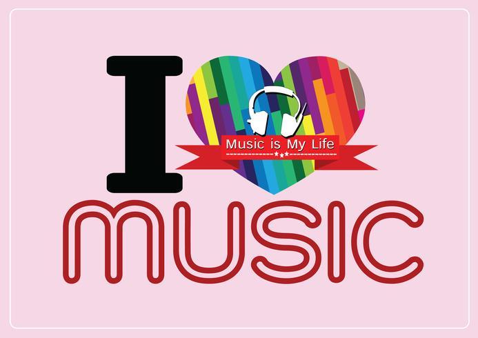 Jag älskar musik och musik är mitt liv typsnitt typsnitt med tecken idé design vektor