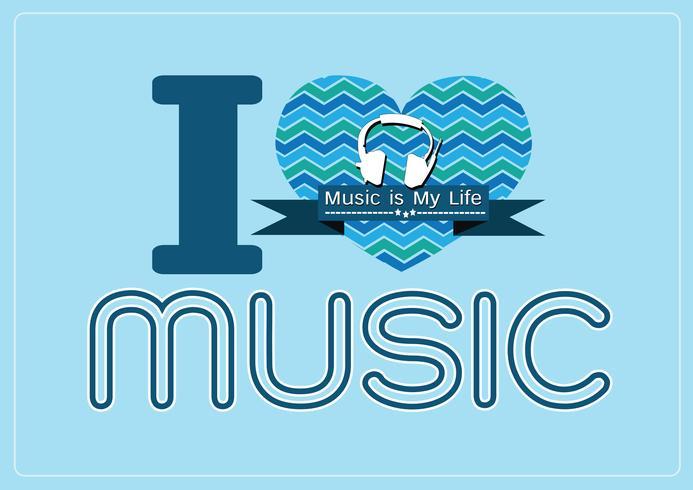 ich liebe Musik und Musik ist meine Lebenwort-Schriftartart mit Zeichenideenentwurf vektor