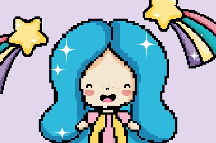 Süßes Mädchen der Pixelkunst vektor