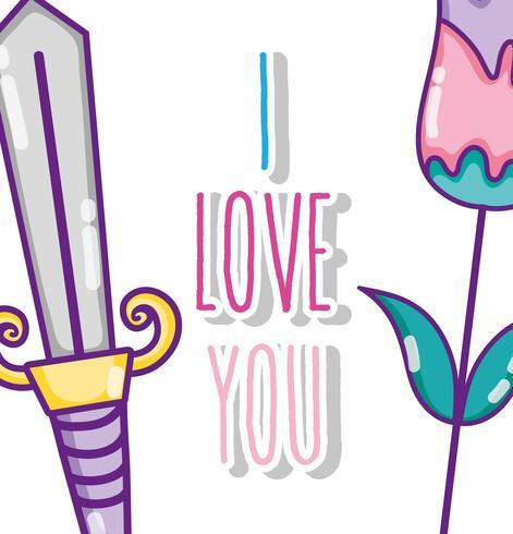 Ich liebe dich Karte vektor