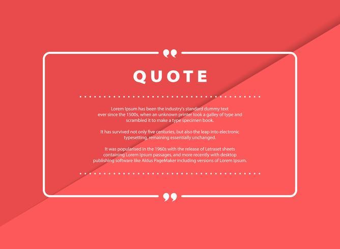 Abstrakt rosa papperssnittcitationsteckenvektordesign för design för mall för taltextkopia. vektor eps10