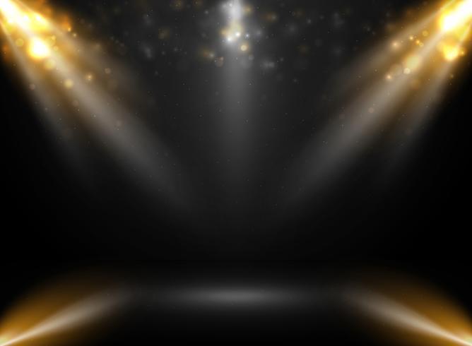 Zusammenfassung der Modellbühnenshow im Steigungsschwarzhintergrund mit Scheinwerfer bokeh. vektor