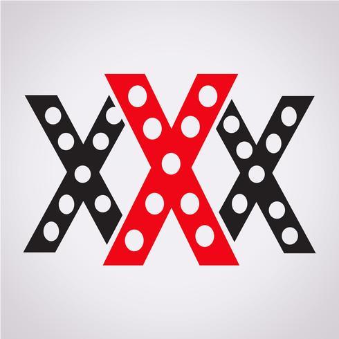 XXX ikon symbol tecken vektor