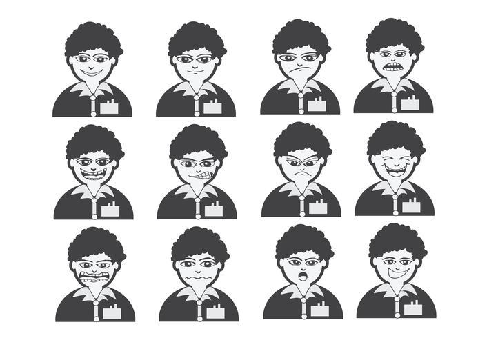 Tecknade ansikten Ställ tecknings illustration vektor