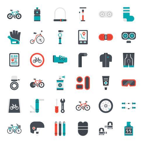 Fahrradzubehör flache Symbol vektor