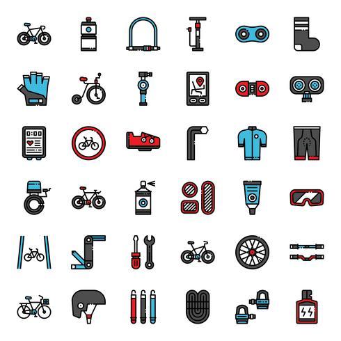 Fahrradzubehör füllen Gliederungssymbol vektor