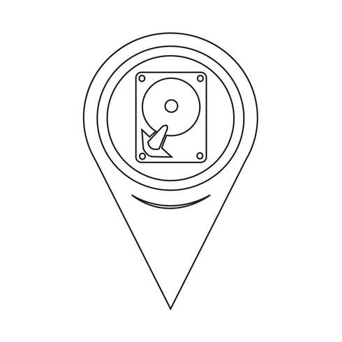 Kartpekaren hårddiskikon vektor