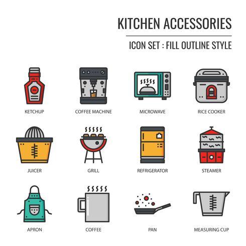 Küchenzubehör-Symbol vektor