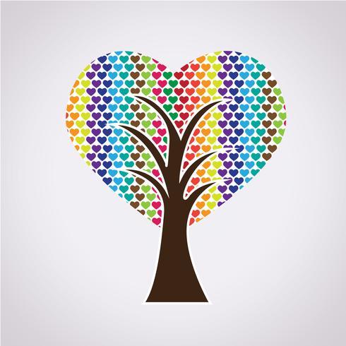 Love Tree symboltecken vektor