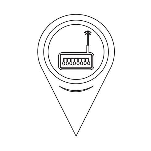 Karta Pointer router icon vektor