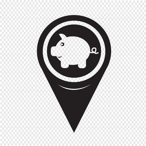 Map Pointer Piggy Bank-ikonen vektor